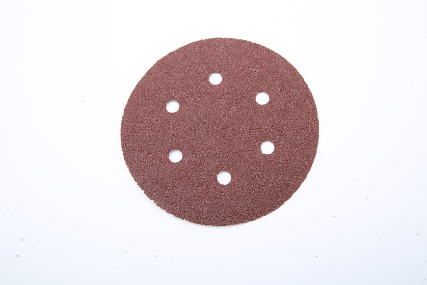 Flannelette piece of brown fused alumina round 150 mm 6 holes